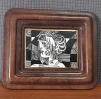 Hollóházi Szász Endre porcelán kép bőr keretben