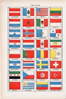 Zászlók, lobogók, színes nyomat 1938, francia, 19 x 29 cm, lexikon, eredeti, ország, zászló, világ