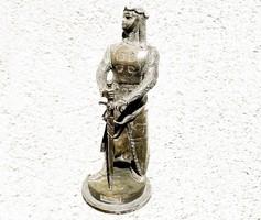 Maurice Favre (1895 - 1915) Paris. 'Le Preur' Keresztes Lovag Bronz Szobor 1898