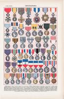 Kitüntetések, színes nyomat 1923, francia, 19 x 29 cm, lexikon, eredeti, kitüntetés, érdemrend, régi