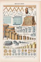 Mértékegységek, színes nyomat 1923, francia, 19 x 29 cm, lexikon, eredeti, méter, súly, hossz, liter
