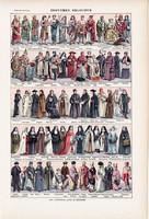 Egyházi öltözetek, nyomat 1923, francia, 19 x 29 cm, lexikon, eredeti, vallás, reverenda, apáca, pap