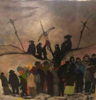 Dilinkó Gábor - Krisztus a keresztfán - olajvászon - 140x140cm
