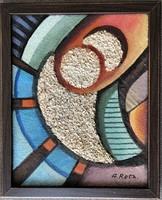 Réth Alfréd szignós képcsarnokos absztrakt kép