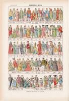 Öltözet, ruha, nyomat 1923, francia, 19 x 29 cm, lexikon, eredeti, történet, korok, viselet, népek