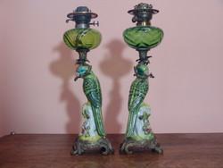 Dekoratív figurális majolika  petróleum lámpapár