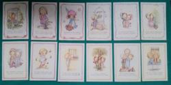 Bájos gyerek figurák,12 db, grafikus képeslap,postatiszta,külföldi
