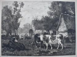 """Émile van Marcke 1874 antik metszet """" A malom """" rézkarc"""