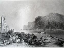 BUDAPEST PEST DUNA HAJÓSOK + ORTODOX TEMPLOM - GELLÉRT HEGY DUNA PART JELZETT METSZET KÉP CCA. 1830