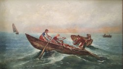 Franceso Boscari - Velencei család Olaj vászon XIX Nagyméretű Hiíres festmény