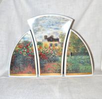 Limitált 2 oldalas, 3 db os váza trió Claude Monet festménye alapján ( Művészház ) ( DBZ 00131 )