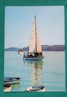 Balaton,vitorlás,tájkép,használt képeslap,1975