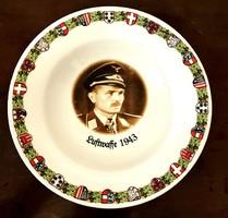 1943 Luftwaffe NÉMET III. BIRODALOM KATONAI EMLÉK DÍSZ TÁNYÉR ROSENTHAL PORCELÁN ! NAGYON RITKA !!!