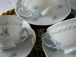 Kék virágos Zsolnay pajzspecsétes teás szett 3 db, csésze és kistányér