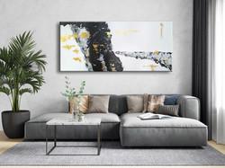 Vörös Edit: Gold Black Gray Original Abstract Painting 180x80cm