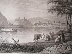 BUDAPEST BUDA + PEST JELZETT METSZET KÉP CCA. 1850 USA NEW - YORK KIADÓ