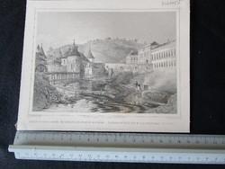 BUDAPEST BUDA JELZETT METSZET KÉP CSÁSZÁR MALOM ÉS FÜRDŐ CCA. 1850