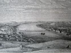BUDAPEST BUDA + PEST DUNA PART JELZETT METSZET KÉP CCA. 1780