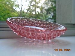 Antik kézzel csiszolt rózsaszín kristály üveg  pipere ovális tálka