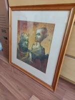 Badacsonyi Sándor ( 1949 - 2016) aláírt olaj-papír festmény 1985-ből 40X38 cm