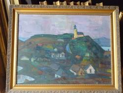 Eladó Nyárády Gulyás Jenő: Tihany című olaj, farost Képcsarnokos festménye