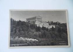 Régi képeslap Walhalla emlékmű Duna Régensburgnál