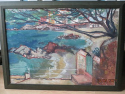 Hangulatos impresszionista tájkép 78 x 60 cm.Alján jelzett