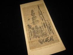 Egyedi készítésű újévi  levelező lap a nagyvenes évekből   , textil alapon  , kézi festés