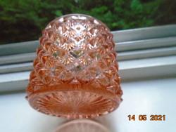 Antik kézzel csiszolt rózsaszín kristály üveg pipere doboz