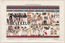 Egyiptomi falfestmény., litográfia 1894, német nyelvű, eredeti, színes nyomat, Afrika, Egyiptom