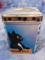 Fekete macska mintás good tea felirat pléhdoboz fedéllel 90 es évek eleje