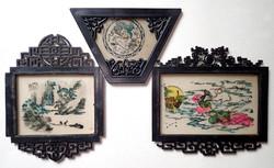 3 db régi retró keleti kínai japán kézzel festett üveg kép festmény keretben - ritkaság!