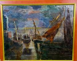 Régi impresszionista festmény.. Knokke  kikötője ( Belgium )