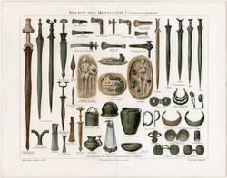Bronzkor, vaskor I., litográfia 1894, német nyelvű, eredeti, színes nyomat, eszköz, ékszer, bronz