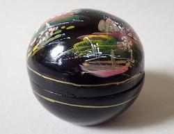 Régi retró keleti kínai japán fekete kézzel festett fa lakkdoboz gömb alakú dísz lakk doboz fadoboz