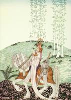 Szecessziós mesekönyv illusztráció reprint nyomat 1914 Nielsen, királyfi fehér ló lány lovag korona