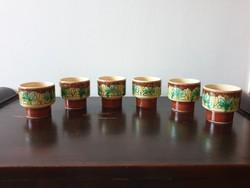 Mázas kerámia pohárkészlet virágos 6 személyes kézzel festett zöld barna kupica kehely pohár