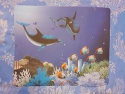 Tenger mélyi halas alátét vagy kép (műanyag)