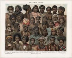 Óceániai, ausztrál népfajok, litográfia 1894, német, eredeti, színes nyomat, Óceánia, Ausztrália