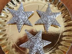 3 db régi csipkés csillag alakú karácsonyfadísz