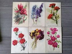 6 db virágos képeslap a 60-as évekből!
