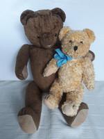 2 antique straw teddy bears