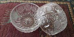 Gazdagon díszített kristály tálka 2db
