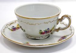 Zsolnay virágos mokkás csésze+alj (ZAL-R68426)