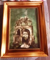 SZÁSZ ENDRE- Portré háttérbe templommal-