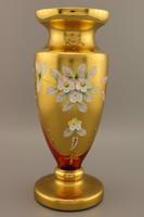 Bohemia váza , Bohém kézzel festett üvegváza, festett Cseh váza