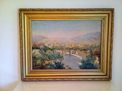 Festmény, régi orosz tájkép.
