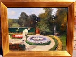 Neogrády Antal: Kastélyparkban virágot szedő hölgy