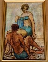 Csodaszép! Ismeretlen festőművész – Strandoló pár című festménye – 187.