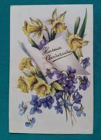 Virágos,ibolyás használt képeslap